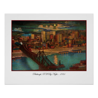 Pittsburgh By Moonlight Poster Print