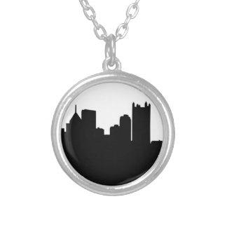 Pittsburgh City Skyline Round Pendant Necklace