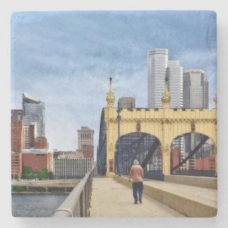 Pittsburgh - Crossing the Smithfield Street Bridge Stone Beverage Coaster