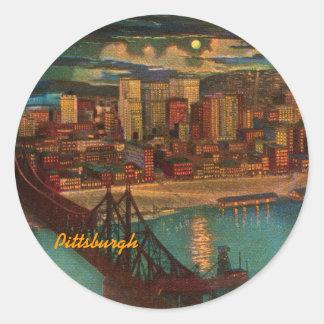 Pittsburgh de los pegatinas del vintage del claro pegatinas redondas