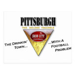 Pittsburgh Drinkin' Town with a Football Problem Postcard