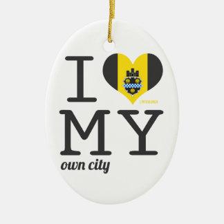 Pittsburgh el | Pennsylvania Adorno Navideño Ovalado De Cerámica