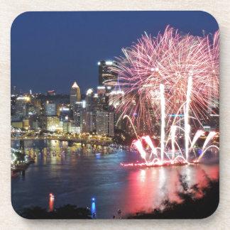 Pittsburgh Fireworks Beverage Coasters