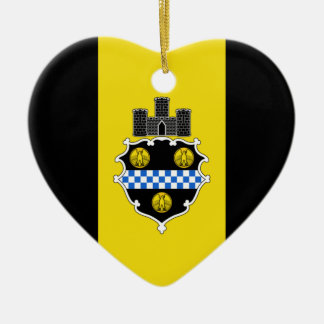 Pittsburgh Flag Heart Christmas Tree Ornament
