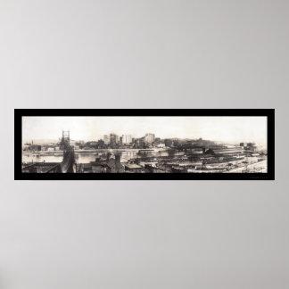 Pittsburgh, foto 1907 del horizonte del PA Póster
