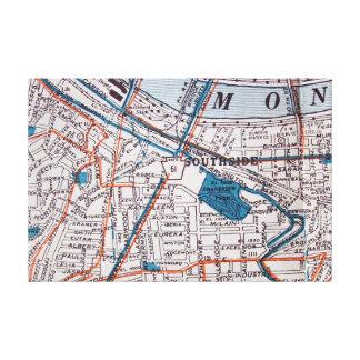 Pittsburgh, impresión del mapa del vintage del PA Lienzo Envuelto Para Galerias