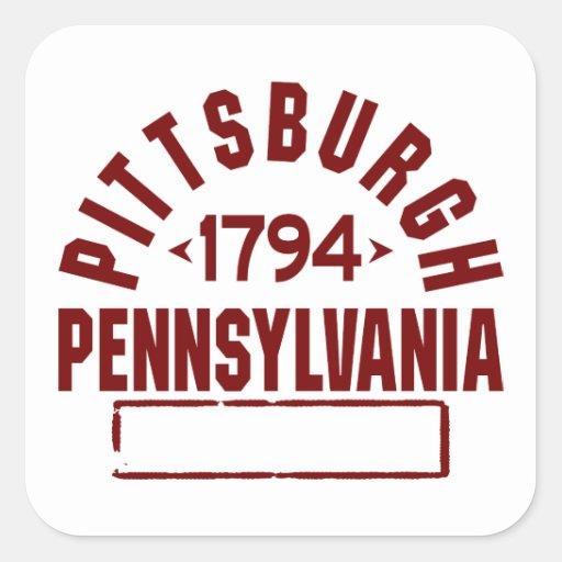 Pittsburgh inc. calcomanías cuadradas personalizadas