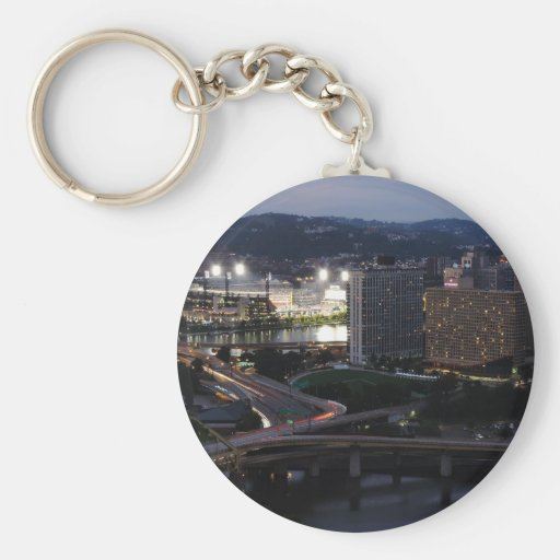Pittsburgh Light Trails Basic Round Button Keychain