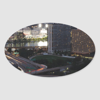 Pittsburgh Light Trails Oval Sticker