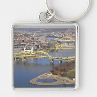 Pittsburgh Llavero Cuadrado Plateado