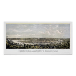 Pittsburgh, mapa panorámico del PA - 1871 Póster