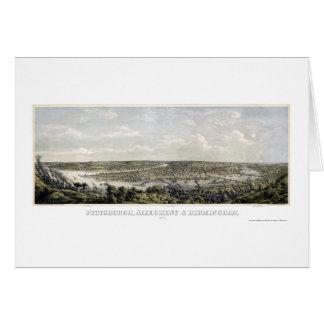 Pittsburgh, mapa panorámico del PA - 1871 Tarjeta De Felicitación