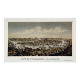 Pittsburgh, mapa panorámico del PA - 1874 Póster
