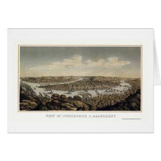 Pittsburgh mapa panorámico del PA - 1874 Felicitacion