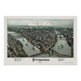 Pittsburgh, mapa panorámico del PA - 1902 Póster