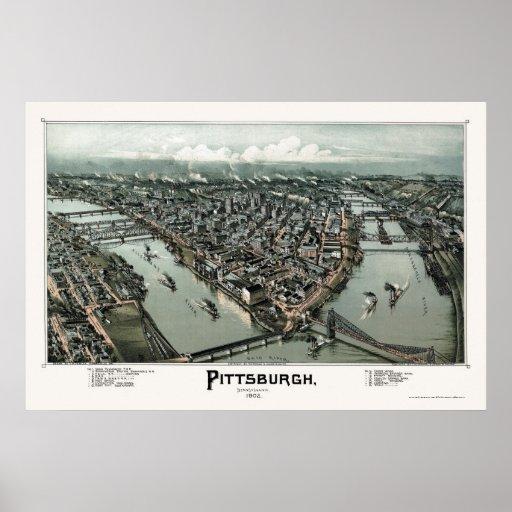 Pittsburgh, mapa panorámico del PA - 1902 Poster