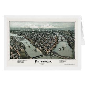 Pittsburgh mapa panorámico del PA - 1902 Felicitacion