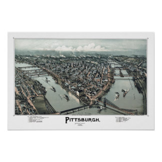 Pittsburgh, mapa panorámico del PA DIGITAL VUELTO  Póster