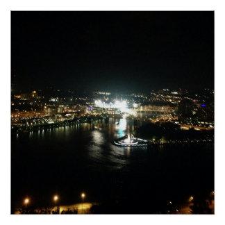 Pittsburgh Night Waterscape Poster