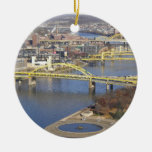 pittsburgh Double-Sided ceramic round christmas ornament