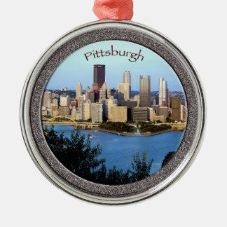 Pittsburgh Ornament-Premium Round Metal Christmas Ornament