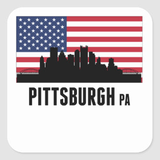 Pittsburgh PA American Flag Square Sticker