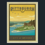 "Pittsburgh, PA - City of Bridges Postcard<br><div class=""desc"">Anderson Design Group is an award-winning illustration and design firm in Nashville,  Tennessee. Founder Joel Anderson directs a team of talented artists to create original poster art that looks like classic vintage advertising prints from the 1920s to the 1960s.</div>"