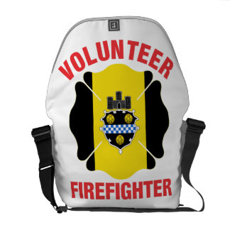 Pittsburgh, PA Flag Volunteer Firefighter Cross Courier Bag
