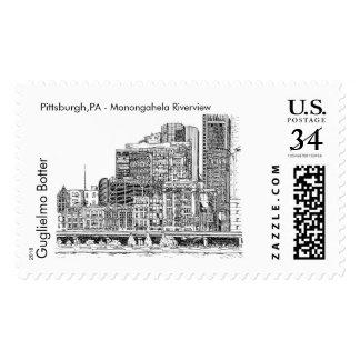 Pittsburgh, PA: Monongahela Riverview Postage Stamp