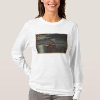 Pittsburgh, PA - Night View of Steamer & Ohio T-Shirt