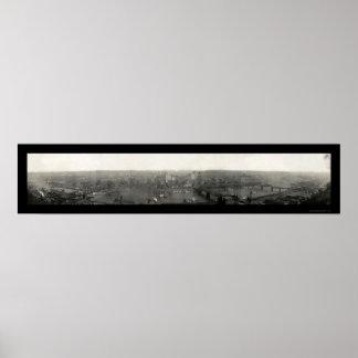 Pittsburgh PA Panorama Photo 1908 Poster