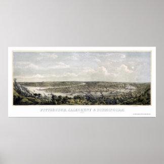 Pittsburgh, PA Panoramic Map - 1871 Poster