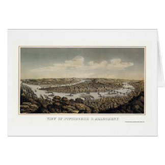 Pittsburgh, PA Panoramic MAp - 1874 Card