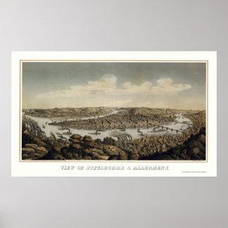 Pittsburgh, PA Panoramic MAp - 1874 Print