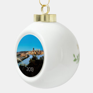 Pittsburgh-Pa-Photo-Ceramic-Christmas-Ornament Ceramic Ball Christmas Ornament