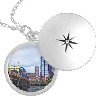 Pittsburgh PA - Pittsburgh Skyline by Smithfield S Round Locket Necklace