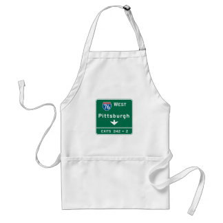 Pittsburgh, PA Road Sign Adult Apron