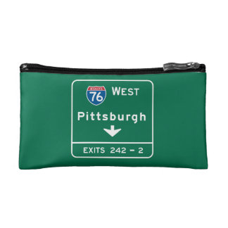 Pittsburgh, PA Road Sign Cosmetic Bags