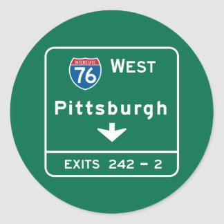 Pittsburgh, PA Road Sign Classic Round Sticker