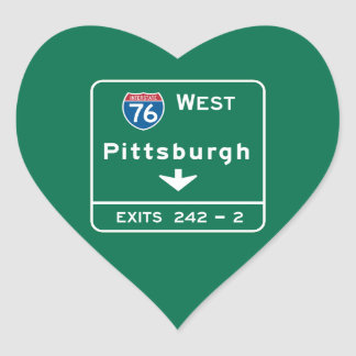 Pittsburgh, PA Road Sign Heart Sticker