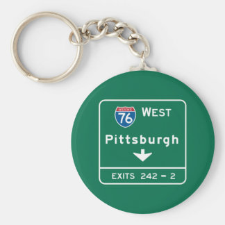 Pittsburgh, PA Road Sign Basic Round Button Keychain