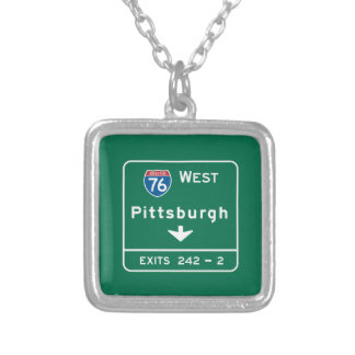 Pittsburgh, PA Road Sign Personalized Necklace