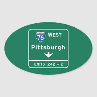 Pittsburgh, PA Road Sign Oval Sticker