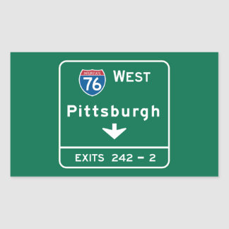 Pittsburgh, PA Road Sign Rectangular Sticker