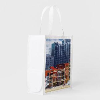 Pittsburgh PA Skyline Closeup Grocery Bag