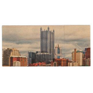 Pittsburgh PA Skyline Wood USB 2.0 Flash Drive
