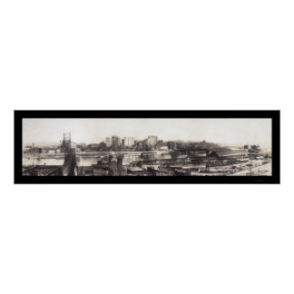 Pittsburgh, PA Skyline Photo 1907 Posters