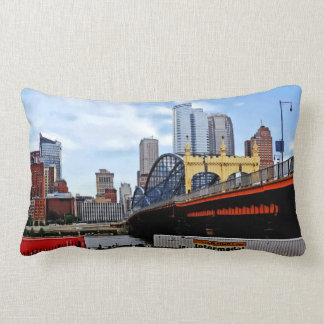 Pittsburgh PA - Train By Smithfield St Bridge Lumbar Pillow