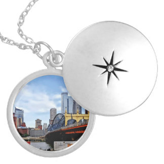 Pittsburgh PA - Train By Smithfield St Bridge Silver Plated Necklace