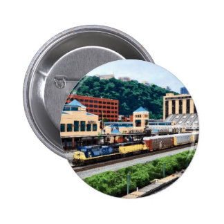 Pittsburgh PA - Train Going By Station Square 2 Inch Round Button